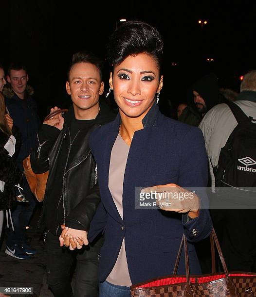 Kevin Clifton and Karen Hauer arriving at the Malmaison hotel on January 16 2015 in Birmingham England