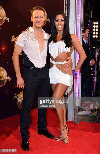 Kevin Clifton and Karen Hauer attend the red carpet launch for Strictly Come Dancing 2014 at Elstree Studios on September 2 2014 in Borehamwood...