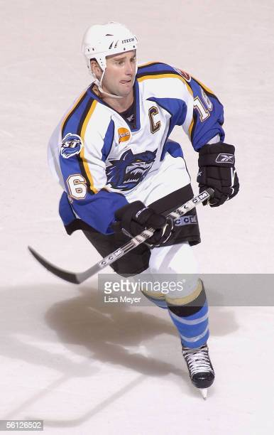 Kevin Colley of the Bridgeport Sound Tigers skates against the Manchester Monarchs at the Arena at Harbor Yard on November 4 2005 in Bridgeport...