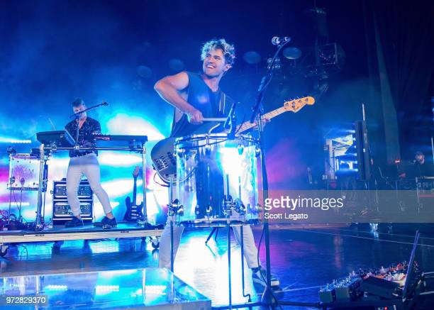 Kevin Colter Ray of Walk The Moon performs at DTE Energy Music Theater on June 12 2018 in Clarkston Michigan