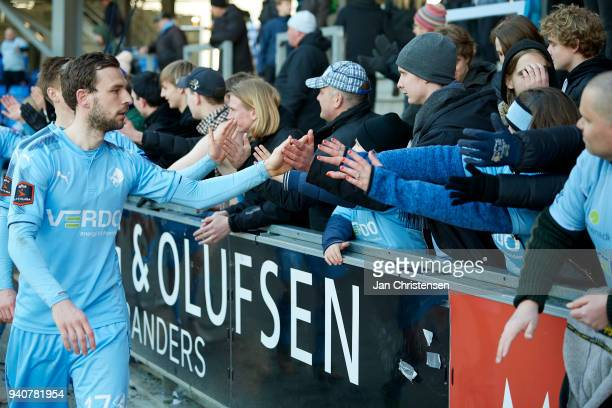 Kevin Conboy of Randers FC celebrating with fans after the Danish Alka Superliga match between Randers FC and Lyngby BK at BioNutria Park Randers on...