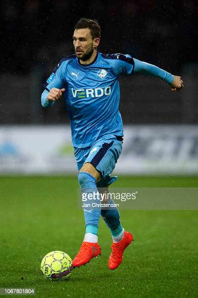 Kevin Conboy of Randers FC controls the ball during the Danish Superliga match between Randers FC and FC Midtjylland at Cepheus Park Randers on...