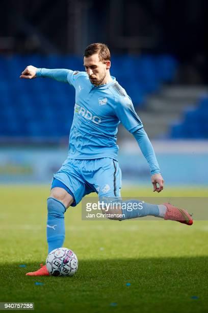 Kevin Conboy of Randers FC in action during the Danish Alka Superliga match between Randers FC and Lyngby BK at BioNutria Park Randers on April 01...
