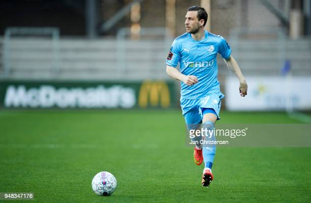 Kevin Conboy of Randers FC in action during the Danish Alka Superliga match between Randers FC and OB Odense at BioNutria Park Randers on April 18...