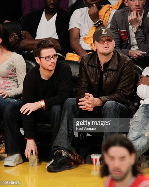 Kevin Connolly and Leonardo DiCaprio attend a game between the Houston Rockets and the Los Angeles Lakers at Staples Center on October 26 2010 in Los...
