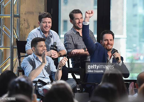 Kevin Connolly and writer Doug Ellin actors Jerry Ferrara and Kevin Dillon attend AOL BUILD Speaker Series The Cast Of Film Entourage at AOL Studios...