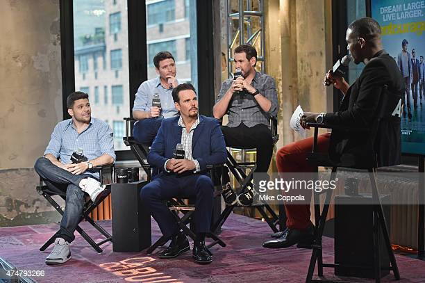 Kevin Connolly and writer Doug Ellin actors Jerry Ferrara Bottom row actor Kevin Dillon and moerator Kevin Mr Moviefone Thompson attend AOL BUILD...
