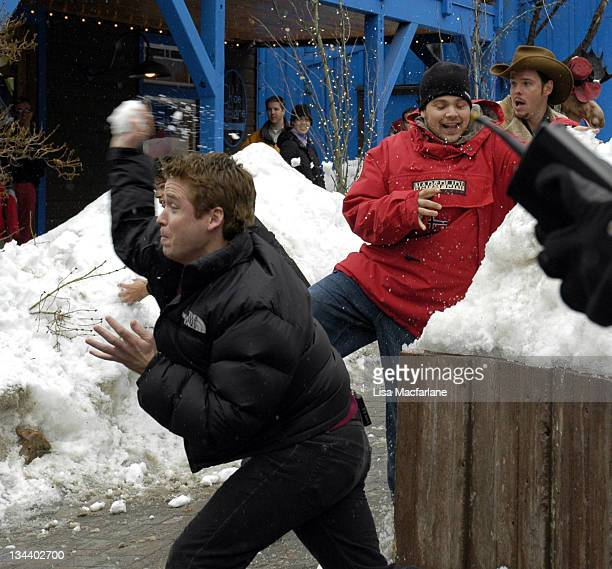 Kevin Connolly Jerry Ferrara and Kevin Dillon during 2005 Sundance Film Festival Taping of Entourage January 27 2005 at Main Street in Park City Utah...