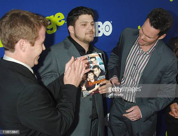 Kevin Connolly Jerry Ferrara and Kevin Dillon during Entourage 2006 Season Premiere Red Carpet at Cinerama Dome in Hollywood California United States