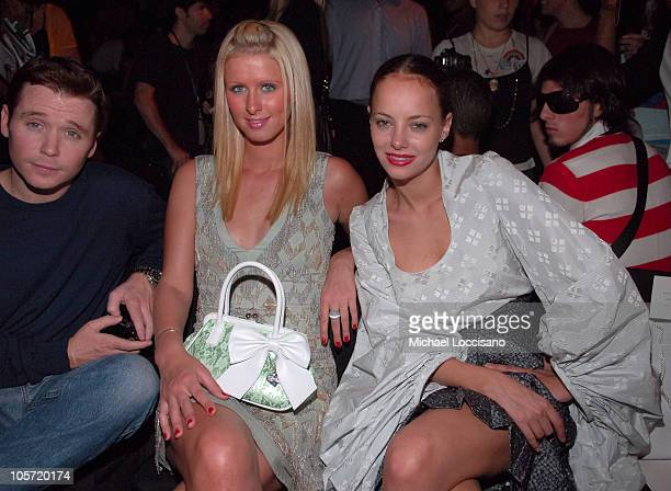 Kevin Connolly Nicky Hilton and Bijou Phillips during Olympus Fashion Week Spring 2006 Zac Posen Front Row Runway and Backstage at Bryant Park in New...
