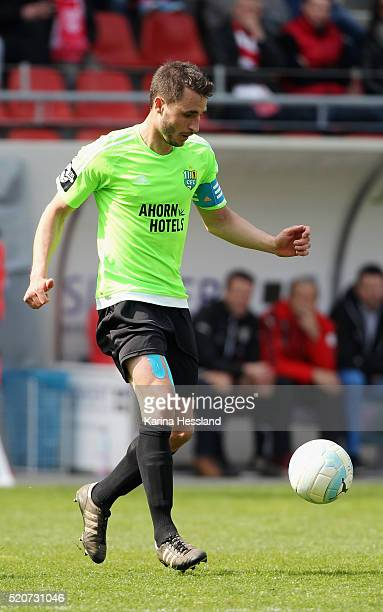 Kevin Conrad of Chemnitz during the Third League match between Hallescher FC and Chemnitzer FC at Erdgas Sportpark on April 10 2016 in Halle Germany