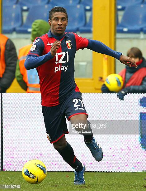 Kevin Constant of Genoa CFC in action during the Serie A match between Genoa CFC and AC Chievo Verona at Stadio Luigi Ferraris on February 19 2012 in...