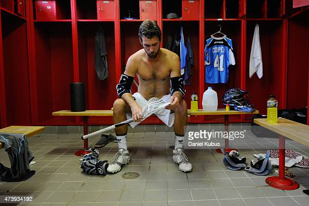 Kevin Cooper of the Ohio Machine prepares in the locker room prior to a game against the Charlotte Hounds at Selby Stadium on May 16 2015 in Delaware...