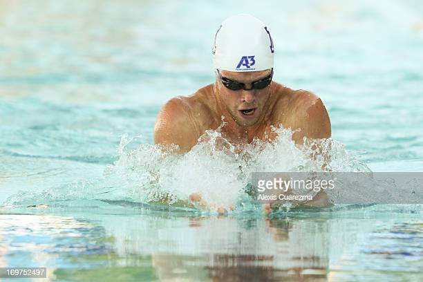 Kevin Cordes competes in the Men's 200 meter breaststroke during Day Two of the Santa Clara International Grand Prix at the George F Haines...