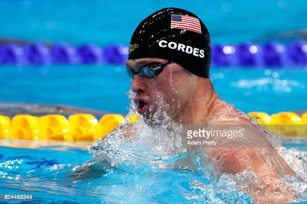 Kevin Cordes of The United States competes during the Men's 4x100m Medley Relay Final on day seventeen of the Budapest 2017 FINA World Championships...
