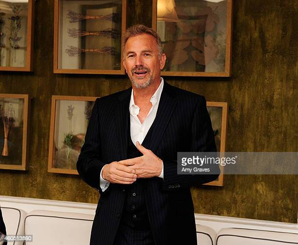 Kevin Costner addresses the gathering at a special luncheon for Kevin Costner and Mike Binder hosted by Colleen Camp for the film BLACK OR WHITE at...