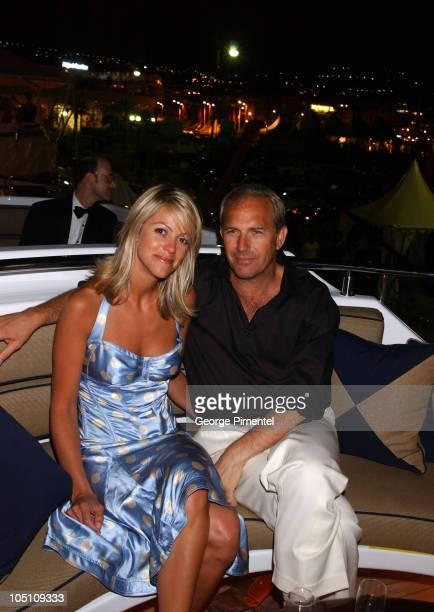 Kevin Costner and Christine Baumgarten during 2003 Cannes Film Festival Anheuser Busch Hosts Kevin Costner Dinner at Anheuser Busch Yacht in Cannes...