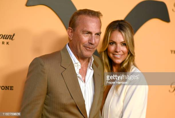 "Kevin Costner and Christine Baumgartner attend Paramount Network's ""Yellowstone"" Season 2 Premiere Party at Lombardi House on May 30, 2019 in Los..."