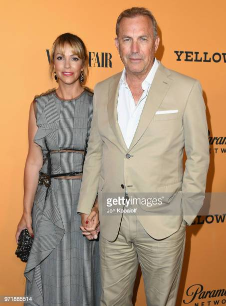 Kevin Costner and Christine Baumgartner attend the premiere of Paramount Pictures' Yellowstone at Paramount Studios on June 11 2018 in Hollywood...