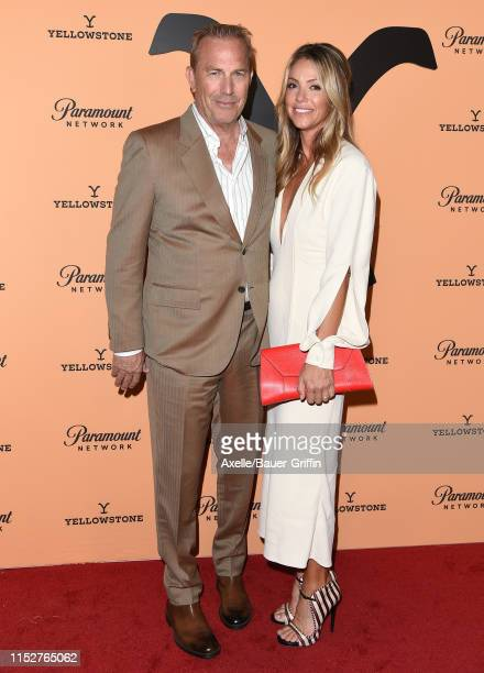 "Kevin Costner and Christine Baumgartner attend the premiere party for Paramount Network's ""Yellowstone"" Season 2 at Lombardi House on May 30, 2019 in..."