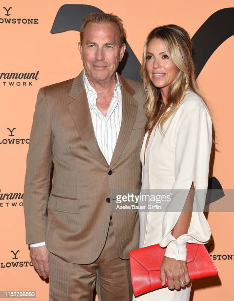 Kevin Costner and Christine Baumgartner attend the premiere party for Paramount Network's Yellowstone Season 2 at Lombardi House on May 30 2019 in...