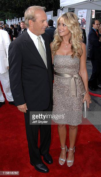 Kevin Costner and Christine Baumgartner during The Guardian Premiere to benefit the United States Coast Guard Foundation at The Uptown Theatre in...