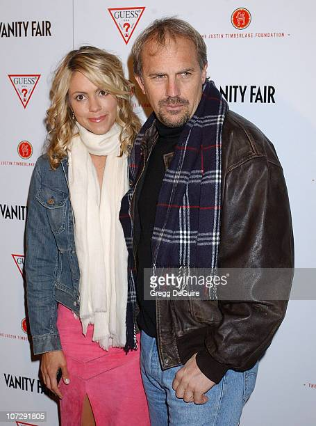 Kevin Costner and Christine Baumgartner during Vanity Fair Amped PreOscar Benefit Presented By Guess Benefiting The Justin Timberlake Foundation at...