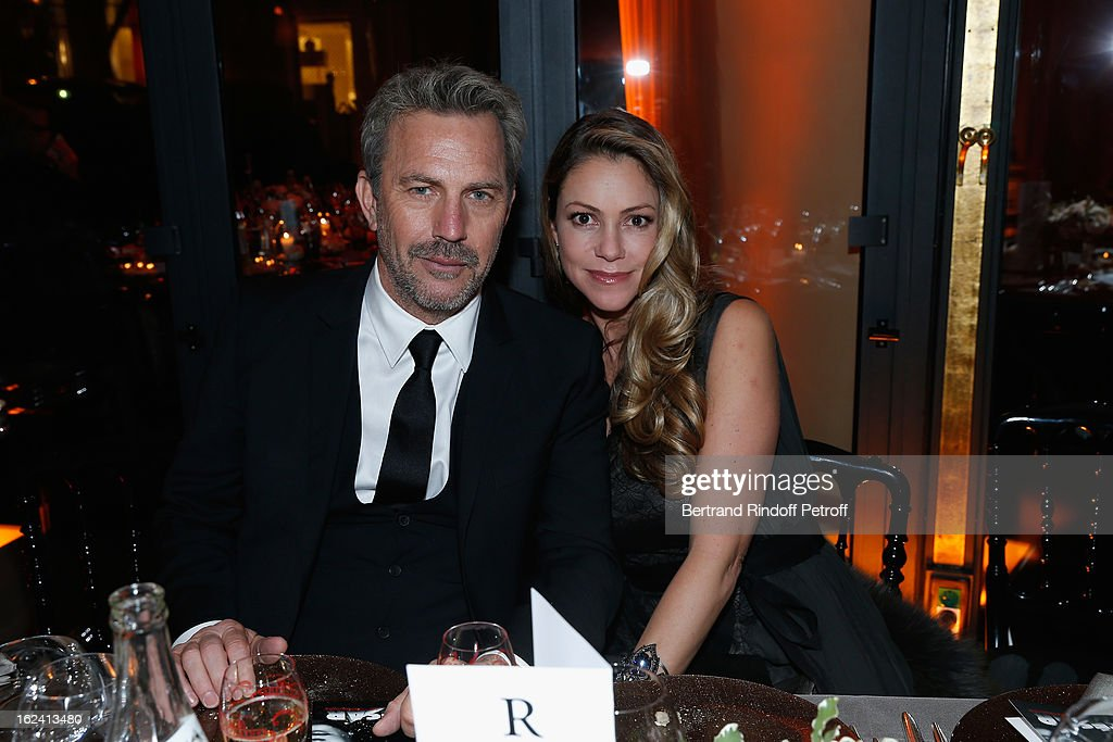 Kevin Costner and Christine Coster attend the Cesar Film Awards 2013 at Le Fouquet's on February 22, 2013 in Paris, France.