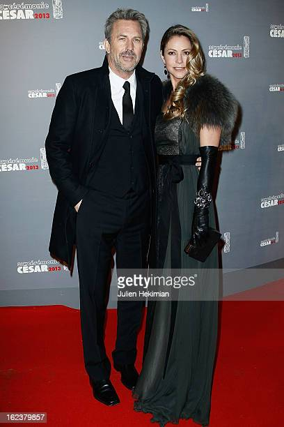 Kevin Costner and his wife attend the Cesar Film Awards 2013 at Theatre du Chatelet on February 22 2013 in Paris France
