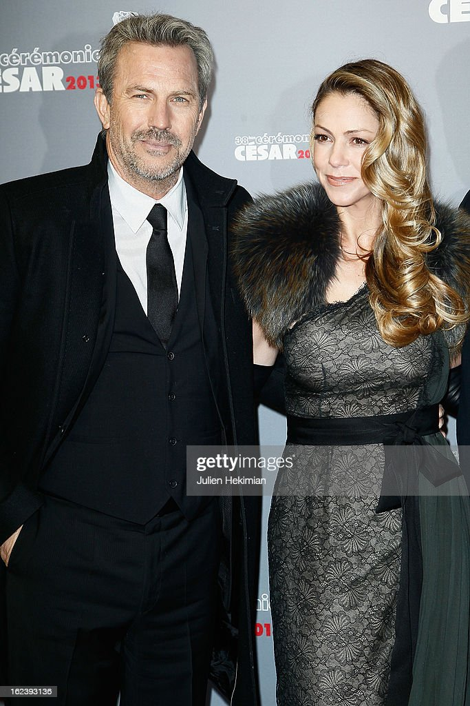 Kevin Costner and his wife attend the Cesar Film Awards 2013 at Theatre du Chatelet on February 22, 2013 in Paris, France.