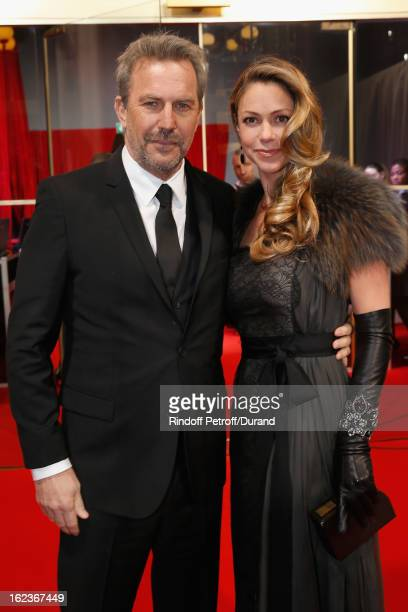 Kevin Costner and his wife Christine arrive to attend the Cesar Film Awards 2013 at Theatre du Chatelet on February 22 2013 in Paris France
