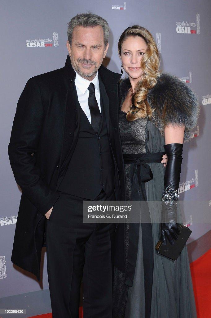 Kevin Costner and his wife Christine Baumgartner arrive at Cesar Film Awards 2013 at Theatre du Chatelet on February 22, 2013 in Paris, France.