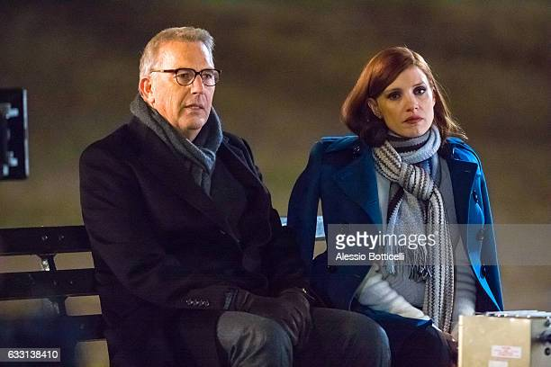 Kevin Costner and Jessica Chastain are seen filming 'Molly's Game' in Central Park on January 31 2017 in New York New York