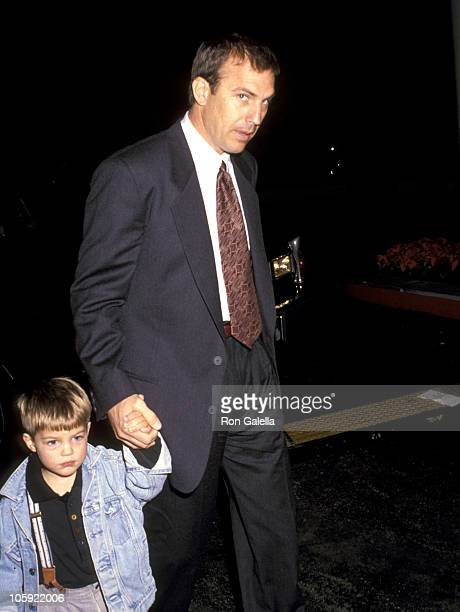 "Kevin Costner and Joe Costner during ""Hook"" Los Angeles Premiere at Cineplex Odeon Theater in Hollywood, California, United States."