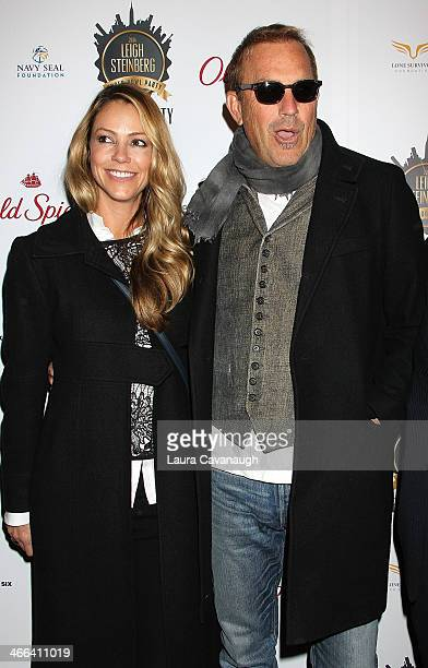 Kevin Costner and wife Christine Baumgartner attend the 2014 Leigh Steinberg Super Bowl Party at 230 Fifth Avenue on February 1 2014 in New York City