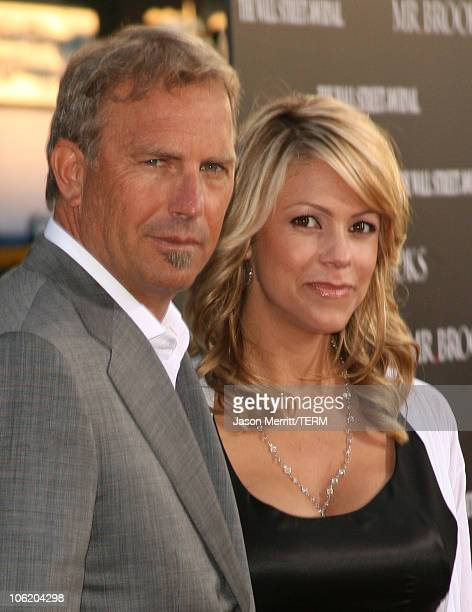 Kevin Costner and wife Christine Baumgartner during Mr Brooks Los Angeles Premiere Arrivals at Gruaman's Chinese Theater in Hollywood California...