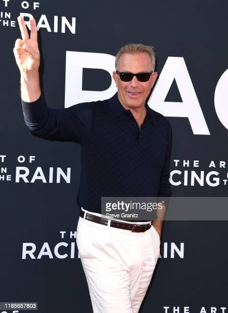 "Kevin Costner arrives at the Premiere Of 20th Century Fox's ""The Art Of Racing In The Rain"" at El Capitan Theatre on August 01, 2019 in Los Angeles,..."