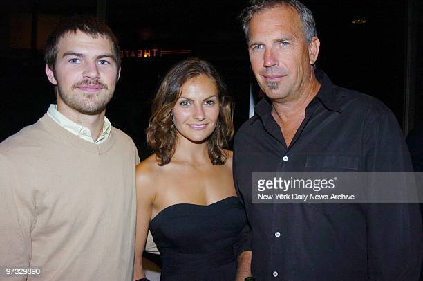 Kevin Costner arrives at the Tribeca Grand Hotel with daughter Annie and son Joe for a special screening of the movie Mr Brooks He stars in the film