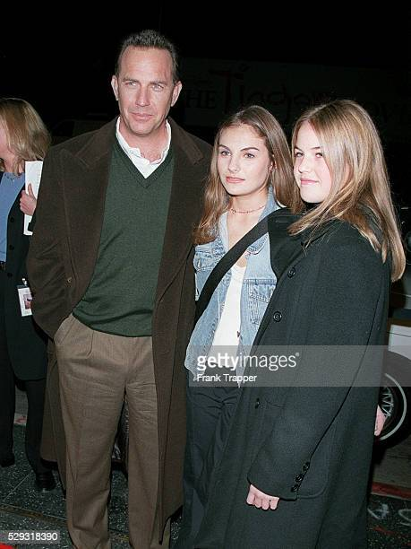Kevin Costner arrives with daughters Lily and Annie