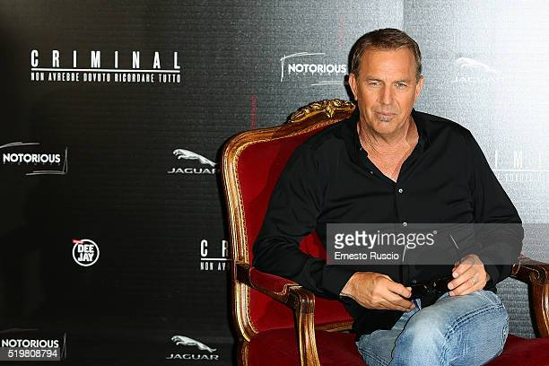 Kevin Costner attends a photocall for 'Criminal' at Hotel Barberini on April 8, 2016 in Rome, Italy.