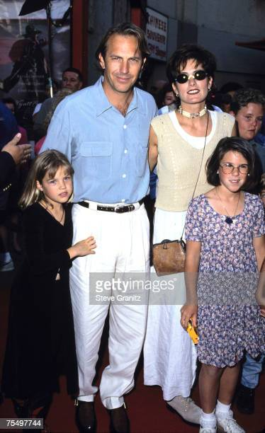 Kevin Costner & Cindy, kids Anne, Lily and Joe at the Mann's Chinese Theater in Hollywood, California