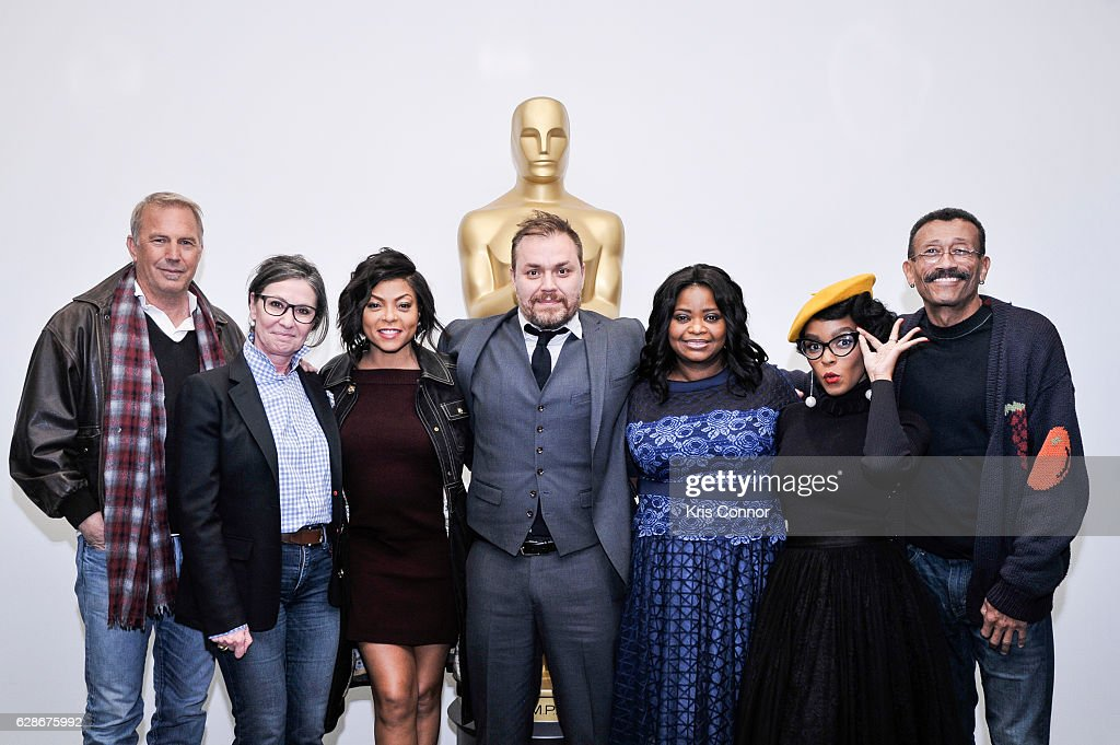 Kevin Costner, Donna Gigliotti, Taraji P. Henson, Ted Melfi, Octavia Spencer ,Janelle Monae and Wynn Thomas attend an official academy screening of HIDDEN FIGURES hosted by the The Academy of Motion Picture Arts and Sciences at MOMA - Celeste Bartos Theater on December 8, 2016 in New York City.