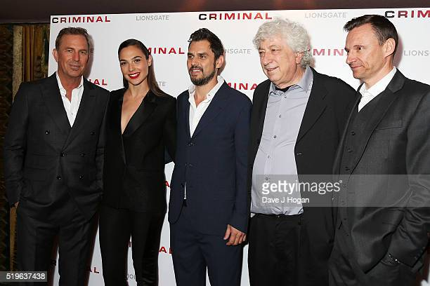 Kevin Costner Gal Gadot Ariel Vroman Avi Lerner and Zygi Kamasa arrive for the UK premiere of 'Criminal' at The Curzon Mayfair on April 7 2016 in...