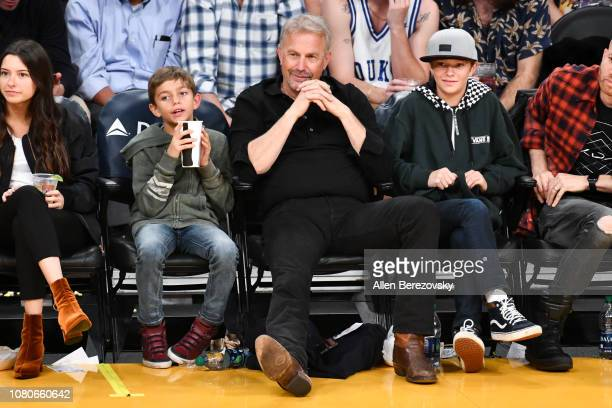 Kevin Costner Hayes Logan Costner and Cayden Wyatt Costner attend a basketball game between the Los Angeles Lakers and the Miami Heat at Staples...