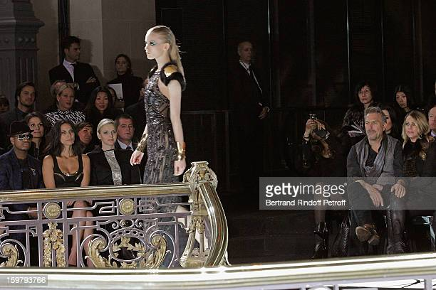 Kevin Costner his wife Christine and NeYo Olivia Munn and Princess Charlene of Monaco attend the Versace Spring/Summer 2013 HauteCouture show as part...