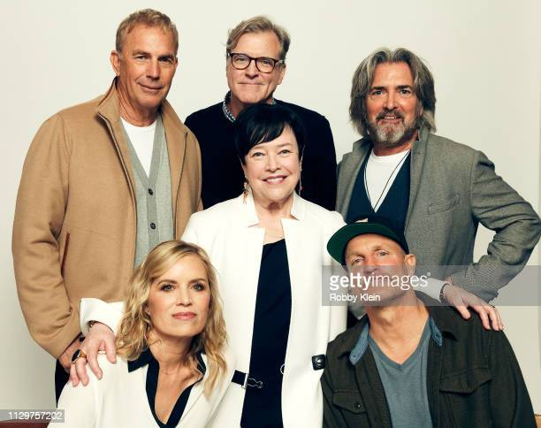 Kevin Costner John Lee Hancock John Fusco Kim Dickens Kathy Bates and Woody Harrelson of Netflix's 'The Highwaymen' pose for a portrait in the 2019...