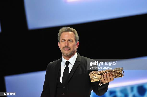 Kevin Costner receives the Cesar of Honor during the 37th Cesar Film Awards Cesar Film Awards 2013 at Theatre du Chatelet on February 22 2013 in...