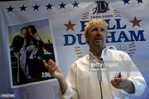 Kevin Costner speaks at a news conference before performing with his band Modern West at a July Fourth celebration at the Durham Bulls Athletic Park...