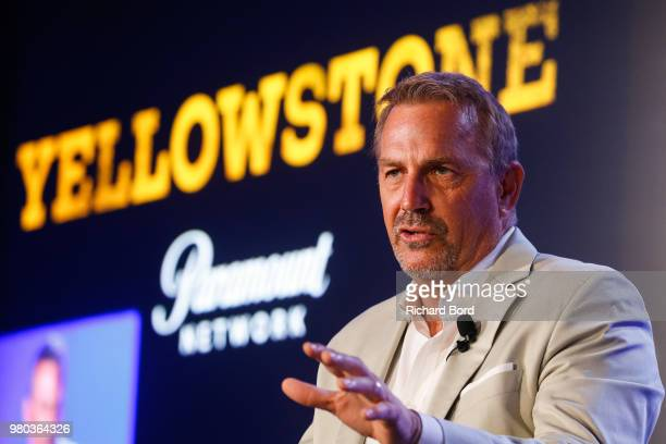 Kevin Costner speaks during 'A conversation with Kevin Costner from Paramount Network and Yellowstone' during the Cannes Lions Festival 2018 on June...