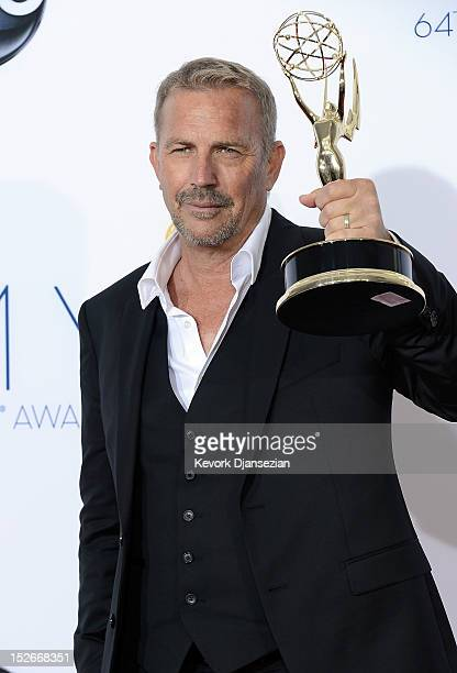 Kevin Costner winner Outstanding Lead Actor in a Miniseries or a Movie poses in the press room during the 64th Annual Primetime Emmy Awards at Nokia...